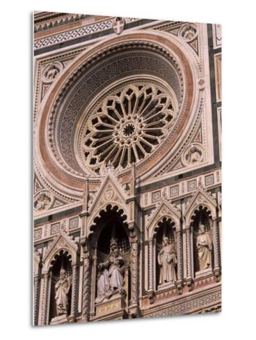 Rose Window and Facade of Polychrome Marble, Duomo Santa Maria Del Fiore, Florence, Tuscany, Italy-Patrick Dieudonne-Metal Print