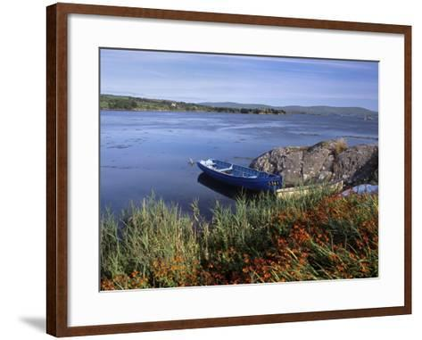 Tranquil Bay and Boat Near Adrigole, Beara Peninsula, County Cork, Munster, Republic of Ireland-Patrick Dieudonne-Framed Art Print