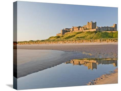 Morning Light on the Beach at Bamburgh Castle, Northumberland, England, United Kingdom, Europe-James Emmerson-Stretched Canvas Print