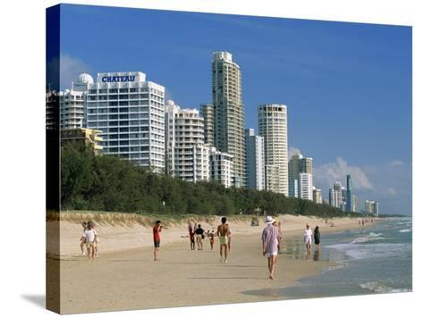 Morning Walkers on the Beach, Surfers Paradise on the Gold Coast of Queensland, Australia-Robert Francis-Stretched Canvas Print