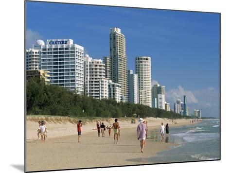 Morning Walkers on the Beach, Surfers Paradise on the Gold Coast of Queensland, Australia-Robert Francis-Mounted Photographic Print