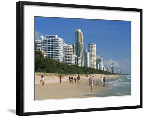 Morning Walkers on the Beach, Surfers Paradise on the Gold Coast of Queensland, Australia-Robert Francis-Framed Art Print