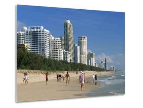Morning Walkers on the Beach, Surfers Paradise on the Gold Coast of Queensland, Australia-Robert Francis-Metal Print