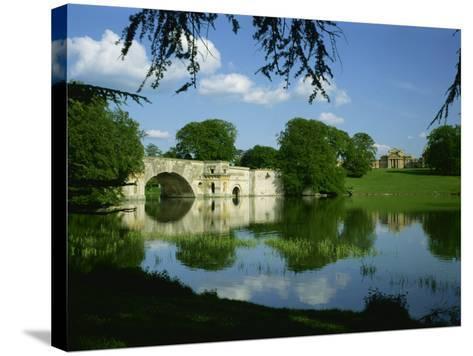 Bridge, Lake and House, Blenheim Palace, Oxfordshire, England, United Kingdom, Europe-Nigel Francis-Stretched Canvas Print