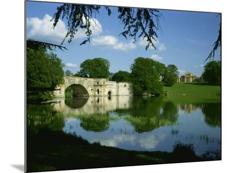 Bridge, Lake and House, Blenheim Palace, Oxfordshire, England, United Kingdom, Europe-Nigel Francis-Mounted Photographic Print