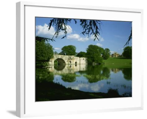 Bridge, Lake and House, Blenheim Palace, Oxfordshire, England, United Kingdom, Europe-Nigel Francis-Framed Art Print