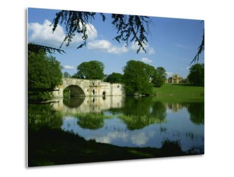 Bridge, Lake and House, Blenheim Palace, Oxfordshire, England, United Kingdom, Europe-Nigel Francis-Metal Print