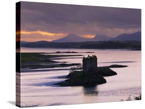 Castle Stalker on Loch Linnhe, Silhouetted at Dusk, Argyll, Scotland, United Kingdom, Europe-Nigel Francis-Stretched Canvas Print