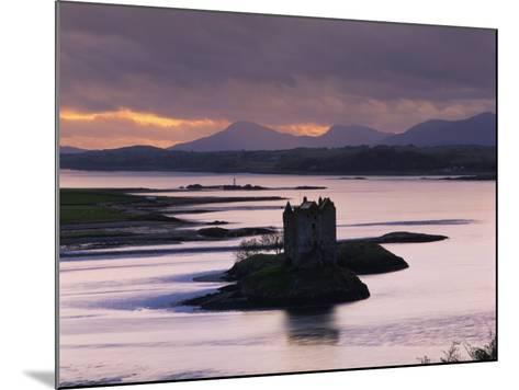 Castle Stalker on Loch Linnhe, Silhouetted at Dusk, Argyll, Scotland, United Kingdom, Europe-Nigel Francis-Mounted Photographic Print