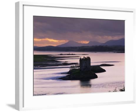 Castle Stalker on Loch Linnhe, Silhouetted at Dusk, Argyll, Scotland, United Kingdom, Europe-Nigel Francis-Framed Art Print