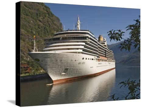 Cruise Ship Berthed at Flaams, Fjordland, Norway, Scandinavia, Europe-James Emmerson-Stretched Canvas Print