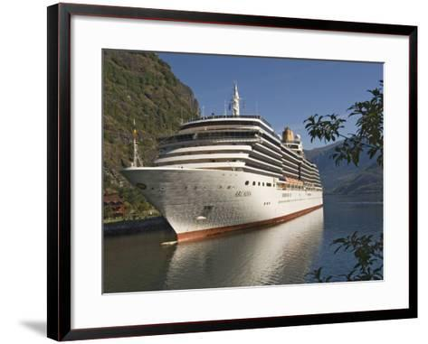 Cruise Ship Berthed at Flaams, Fjordland, Norway, Scandinavia, Europe-James Emmerson-Framed Art Print
