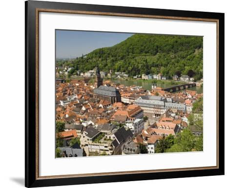 View from the Castle of the Old City, and the River Neckar, Heidelberg, Baden-Wurttemberg, Germany-James Emmerson-Framed Art Print