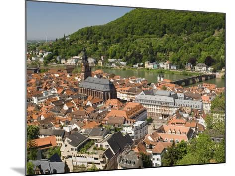 View from the Castle of the Old City, and the River Neckar, Heidelberg, Baden-Wurttemberg, Germany-James Emmerson-Mounted Photographic Print