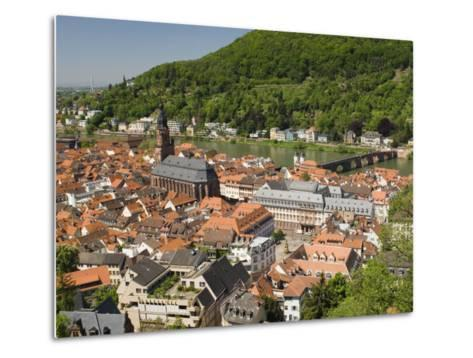 View from the Castle of the Old City, and the River Neckar, Heidelberg, Baden-Wurttemberg, Germany-James Emmerson-Metal Print