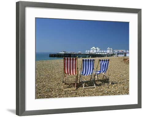 Empty Deck Chairs on the Beach and the Southsea Pier, Southsea, Hampshire, England, United Kingdom-Nigel Francis-Framed Art Print