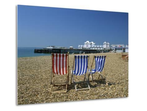 Empty Deck Chairs on the Beach and the Southsea Pier, Southsea, Hampshire, England, United Kingdom-Nigel Francis-Metal Print