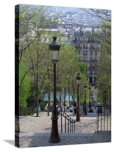 Looking Down the Famous Steps of Montmartre, Paris, France, Europe-Nigel Francis-Stretched Canvas Print