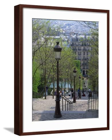 Looking Down the Famous Steps of Montmartre, Paris, France, Europe-Nigel Francis-Framed Art Print