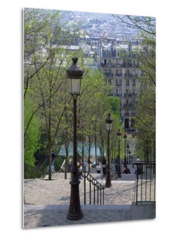 Looking Down the Famous Steps of Montmartre, Paris, France, Europe-Nigel Francis-Metal Print