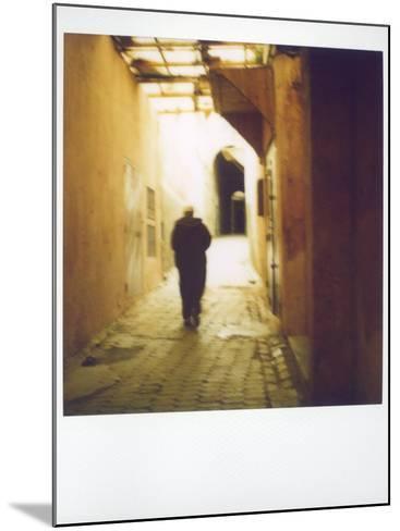 Polaroid Image of Man Walking Along Narrow, Dimly-Lit Street in the Medina, Fez, Morocco-Lee Frost-Mounted Photographic Print