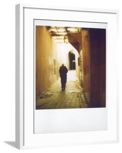 Polaroid Image of Man Walking Along Narrow, Dimly-Lit Street in the Medina, Fez, Morocco-Lee Frost-Framed Art Print