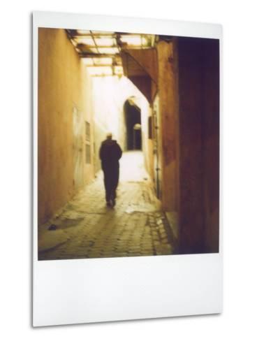 Polaroid Image of Man Walking Along Narrow, Dimly-Lit Street in the Medina, Fez, Morocco-Lee Frost-Metal Print