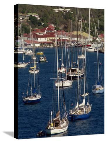 Moored Sailing Boats in Gustavia Harbour, St. Barthelemy, Leeward Islands, West Indies-Ken Gillham-Stretched Canvas Print