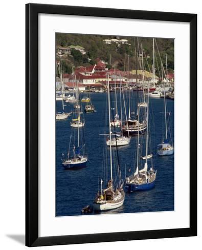 Moored Sailing Boats in Gustavia Harbour, St. Barthelemy, Leeward Islands, West Indies-Ken Gillham-Framed Art Print