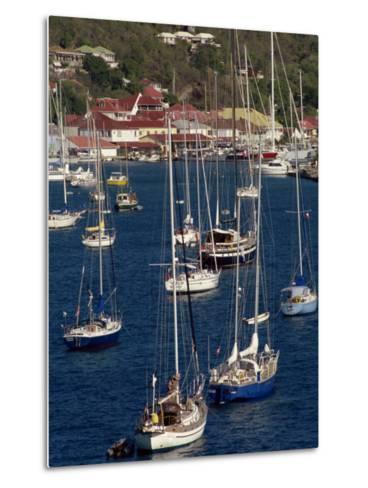 Moored Sailing Boats in Gustavia Harbour, St. Barthelemy, Leeward Islands, West Indies-Ken Gillham-Metal Print