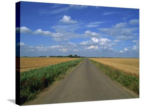 Country Road Through Fields in Fenland Near Peterborough, Cambridgeshire, England, United Kingdom-Lee Frost-Stretched Canvas Print