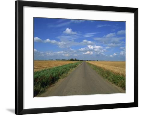 Country Road Through Fields in Fenland Near Peterborough, Cambridgeshire, England, United Kingdom-Lee Frost-Framed Art Print