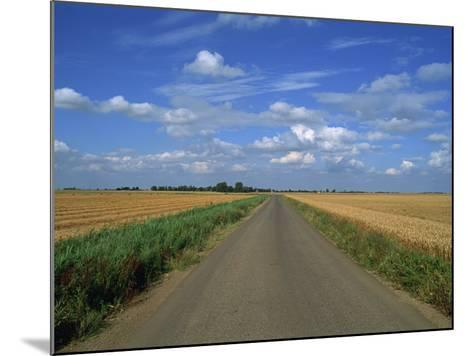 Country Road Through Fields in Fenland Near Peterborough, Cambridgeshire, England, United Kingdom-Lee Frost-Mounted Photographic Print