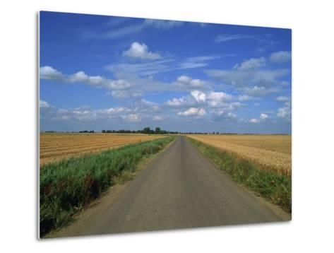 Country Road Through Fields in Fenland Near Peterborough, Cambridgeshire, England, United Kingdom-Lee Frost-Metal Print