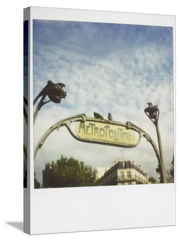 Polaroid of Two Pigeons Sitting on Sign Outside Paris Metro, Paris, France, Europe-Lee Frost-Stretched Canvas Print