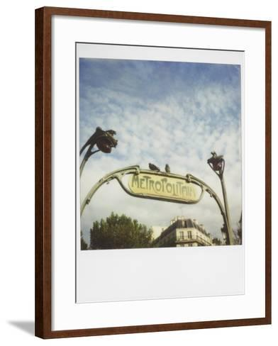 Polaroid of Two Pigeons Sitting on Sign Outside Paris Metro, Paris, France, Europe-Lee Frost-Framed Art Print
