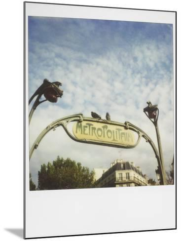 Polaroid of Two Pigeons Sitting on Sign Outside Paris Metro, Paris, France, Europe-Lee Frost-Mounted Photographic Print