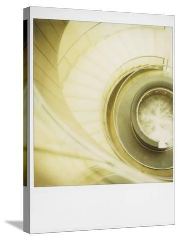 Polaroid of View Looking Down on Spiral Staircase in the Louvre Museum, Paris, France, Europe-Lee Frost-Stretched Canvas Print