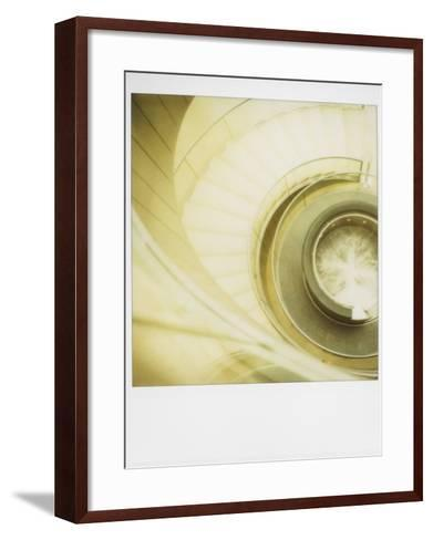 Polaroid of View Looking Down on Spiral Staircase in the Louvre Museum, Paris, France, Europe-Lee Frost-Framed Art Print