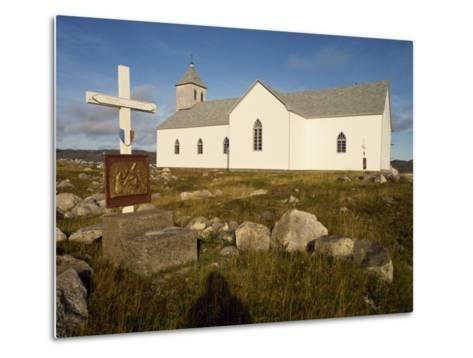 Station of the Cross and Church, St. Pierre Et Miquelon, Isle Aux Marins, Near Newfoundland, Canada-Ken Gillham-Metal Print