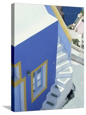 Detail of Brightly Painted House, Oia, Santorini, Cyclades, Greek Islands, Greece, Europe-Lee Frost-Stretched Canvas Print