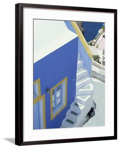 Detail of Brightly Painted House, Oia, Santorini, Cyclades, Greek Islands, Greece, Europe-Lee Frost-Framed Art Print