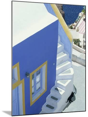 Detail of Brightly Painted House, Oia, Santorini, Cyclades, Greek Islands, Greece, Europe-Lee Frost-Mounted Photographic Print