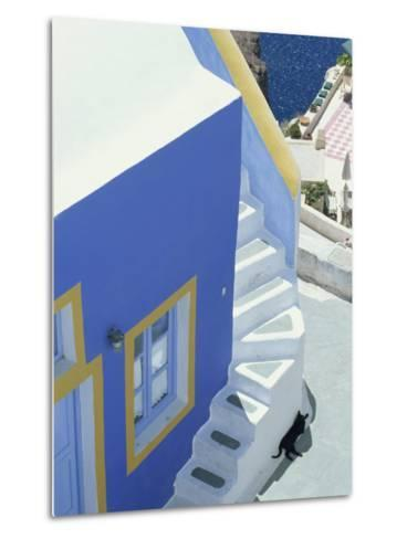 Detail of Brightly Painted House, Oia, Santorini, Cyclades, Greek Islands, Greece, Europe-Lee Frost-Metal Print