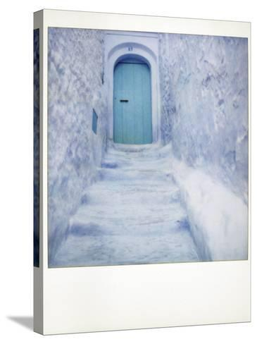 Polaroid of Traditional Bluewashed Street and Walls, Chefchaouen, Morocco, North Africa, Africa-Lee Frost-Stretched Canvas Print