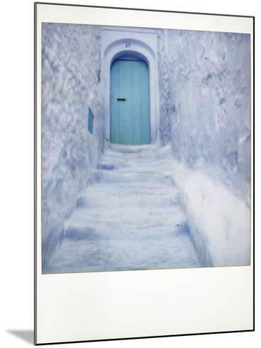 Polaroid of Traditional Bluewashed Street and Walls, Chefchaouen, Morocco, North Africa, Africa-Lee Frost-Mounted Photographic Print