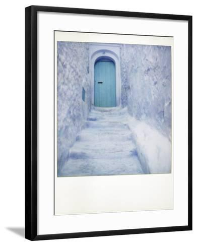 Polaroid of Traditional Bluewashed Street and Walls, Chefchaouen, Morocco, North Africa, Africa-Lee Frost-Framed Art Print
