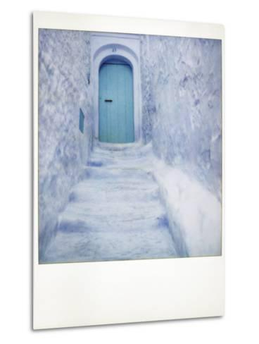 Polaroid of Traditional Bluewashed Street and Walls, Chefchaouen, Morocco, North Africa, Africa-Lee Frost-Metal Print