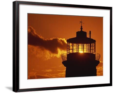 Sun Shining Through Lantern Room of Belle Tout, Beachy Head, Sussex, England, UK-Ian Griffiths-Framed Art Print