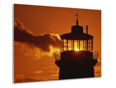 Sun Shining Through Lantern Room of Belle Tout, Beachy Head, Sussex, England, UK-Ian Griffiths-Metal Print